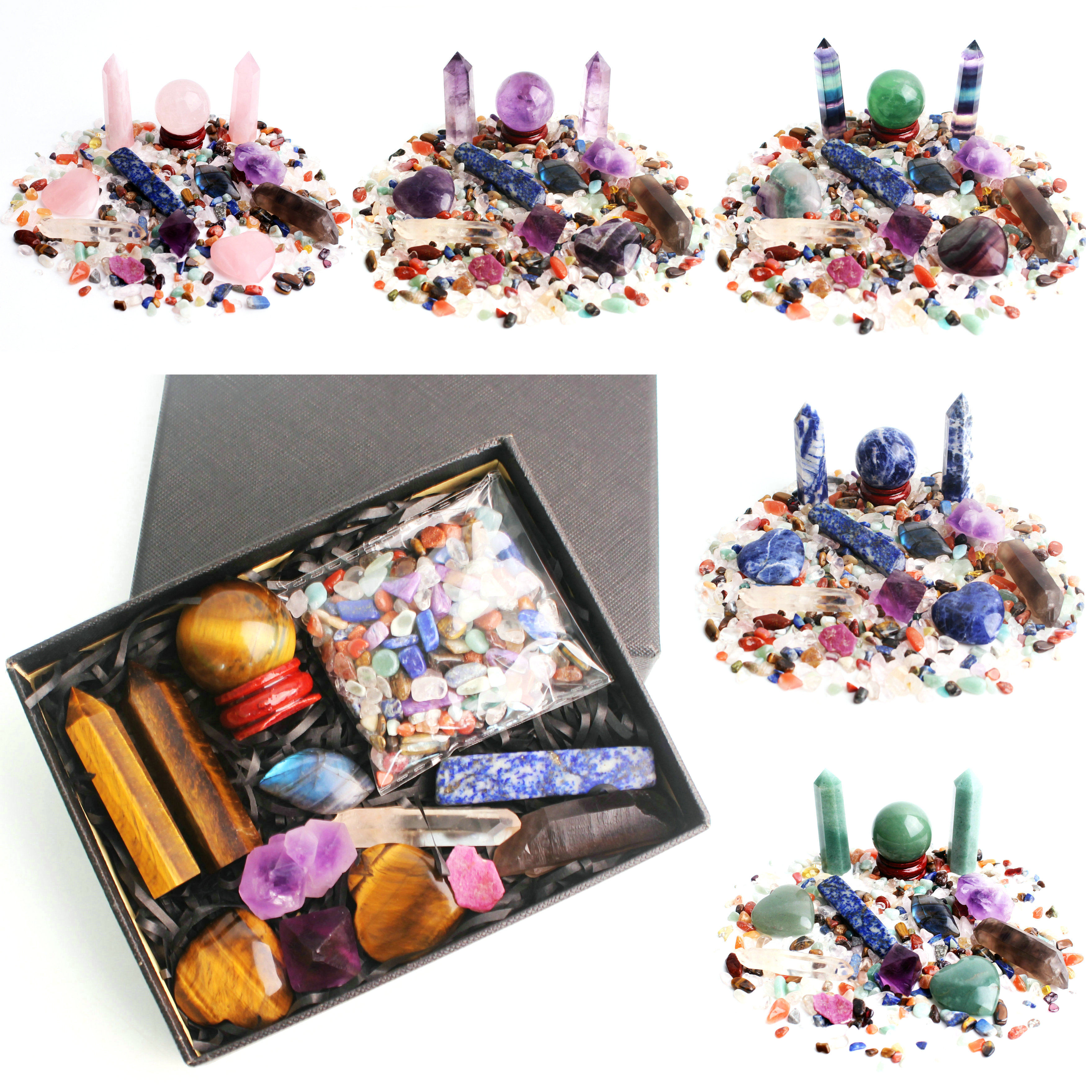 Muitos pedras coloridas naturais pingentes de cascalho, chakra, obelisk, bola de cristal, rosequartz, pedra preciosa, homem mineral, decoração reiki