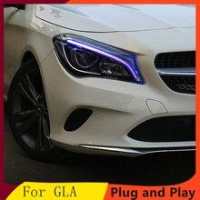 Стайлинга автомобилей налобный фонарь для Benz CLA 2014-2018 головной светильник s все светодиодный головной светильник дневного светильник DRL Bi-св...