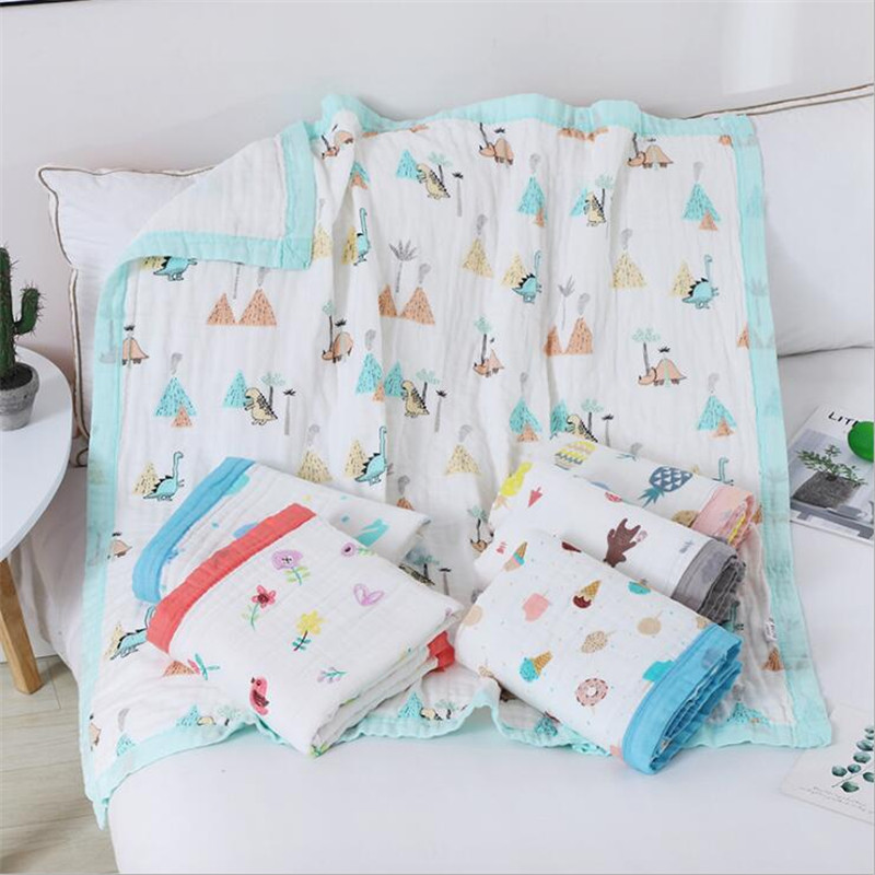 New 100% Cotton Muslin Six Layers Baby Receiving Blanket Binding High Density Baby Bath Towel Infant Breathable Sleeping Blanket