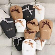 Boîte à bonbons en papier «Merci», 5 pièces, noir, blanc, bronzant, pour fête prénatale, boîtes à chocolat, sacs pour cadeaux d'anniversaire et de mariage, emballage de cadeaux