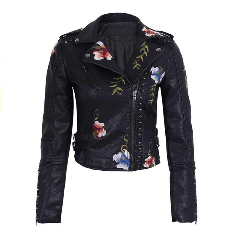 Ailegogo Spring Autumn Flowers Embroidery Pu Leather Jacket Women Turn-down Collar Rivet Zipper Black Biker Coats Tops Clothes