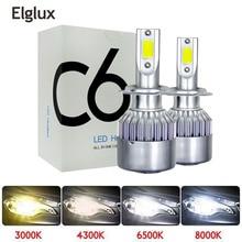 Elglux супер яркий автомобильный H8 H11 H7 H4 H1 светодиодный фары 6500K холодный белый 72 Вт 8000лм COB лампы Диоды автозапчасти лампы
