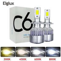 Elglux Super bright Auto Car H8 H11 H7 H4 H1 LED Headlights 6500K Cool white 72W 8000LM COB Bulbs Diodes Automobiles Parts Lamp