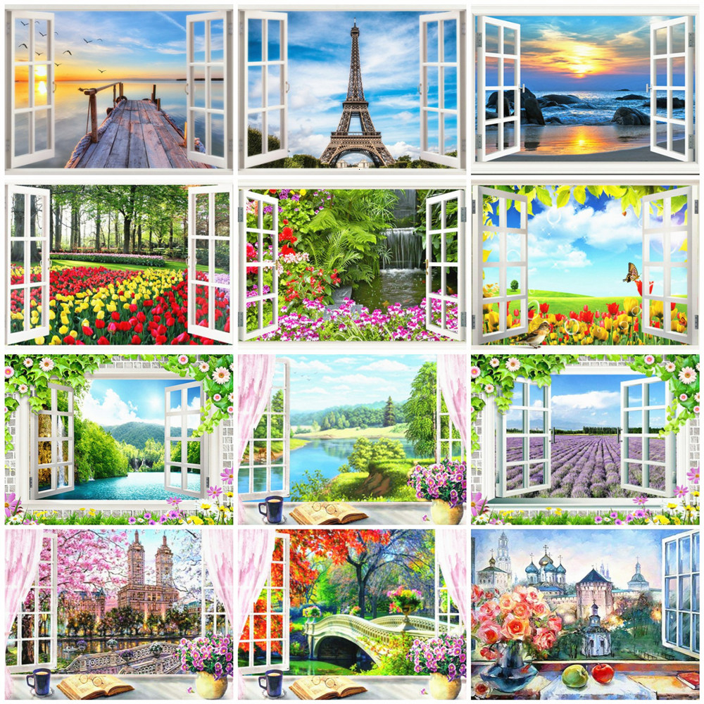 HUACAN Painting By Numbers Window Scenery Drawing On Canvas HandPainted Art Picture Kits DIY Gift Home Decoration
