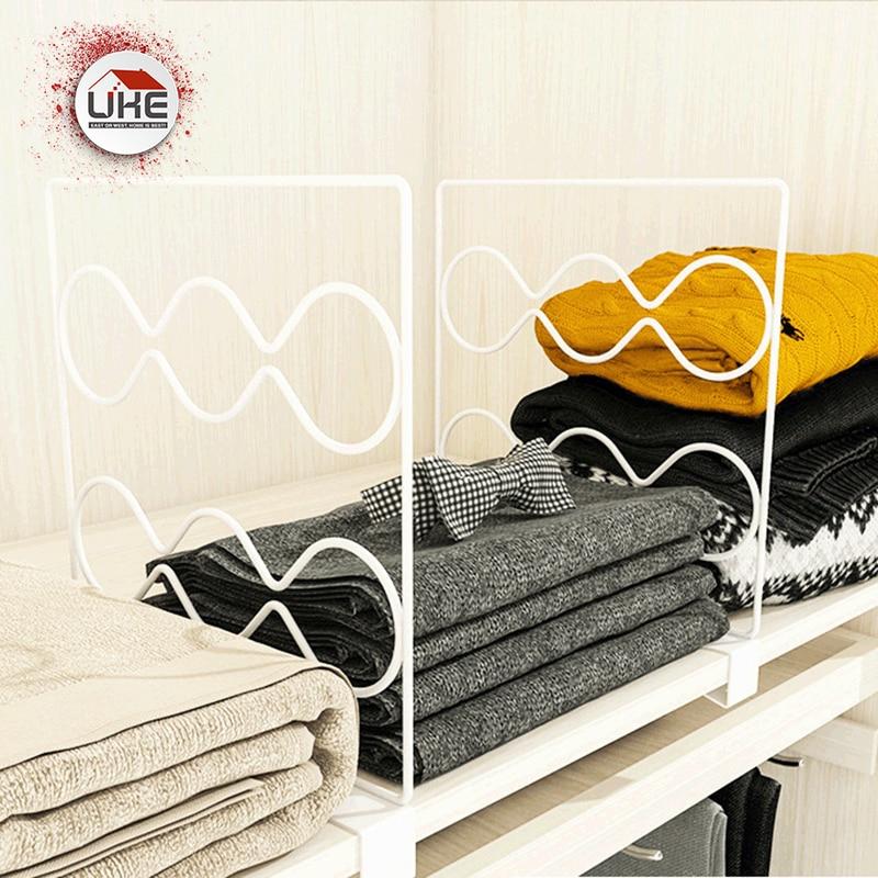 Portable Clothes Organizer Steel Shirt Divider Space Saving Storage Closet Shelf Dividers Wardrobe Partition Shelves Separator