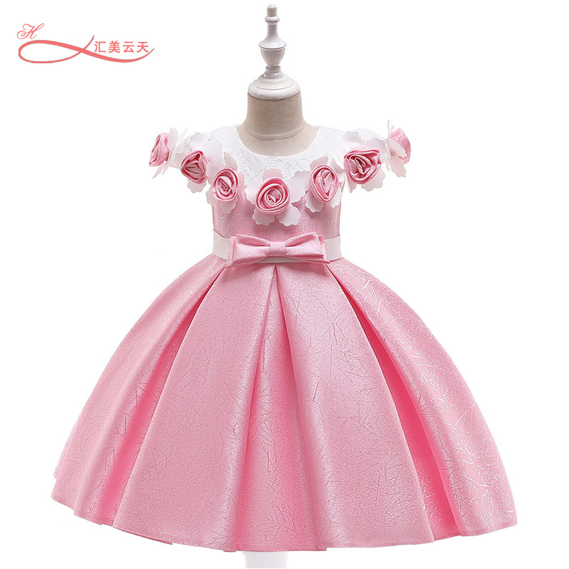 Girls' Princess Skirt Europe And America Forging Cloth Jacquard Short Sleeve Shawl Girls Formal Dress Kids