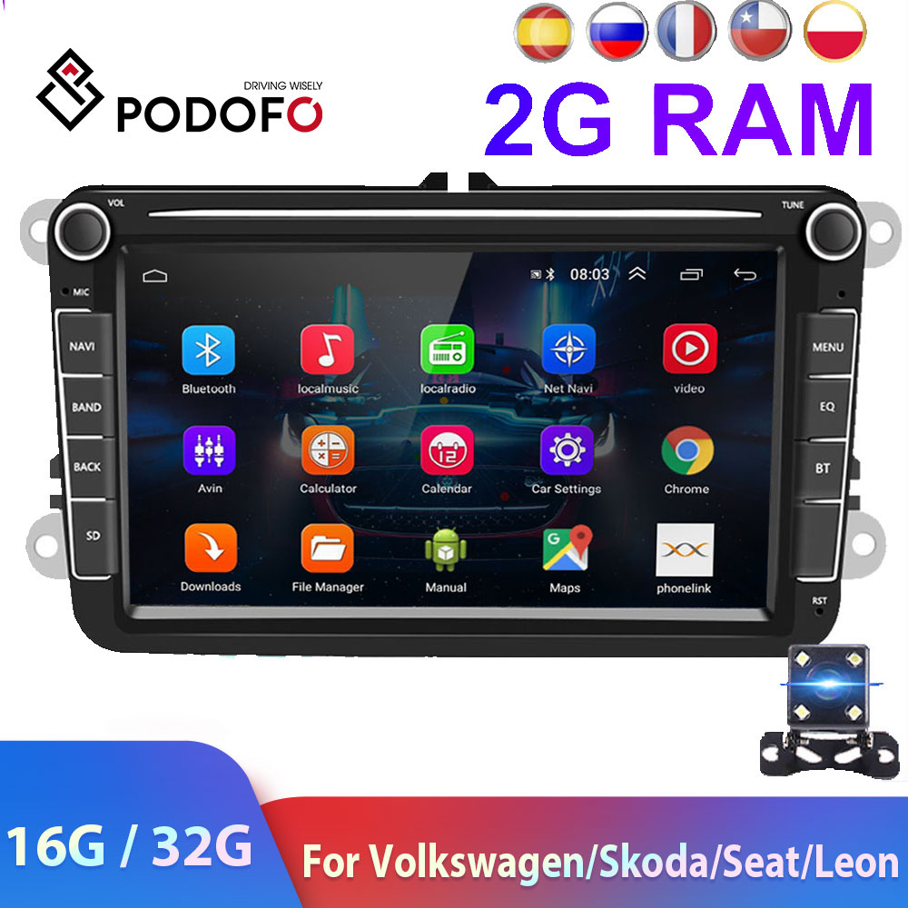 Podofo 2 Din Android Car Radio GPS  2 DIN Autoradio Car Multimedia Player For VW Volkswagen Polo Skoda Seat Toledo Car Stereo