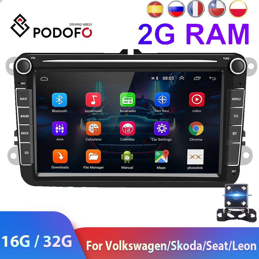 Podofo 2 Din Android Car Radio GPS  2 DIN Autoradio Car Multimedia player for VW Volkswagen Polo Skoda Seat Toledo Car Stereo Car Multimedia Player    - AliExpress