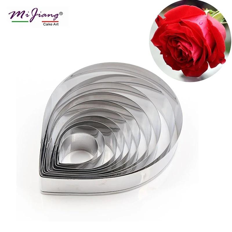 10pcs Metal Fondant Cake Decoration Mold Rose Flower Petal Cookie Cutter Baking