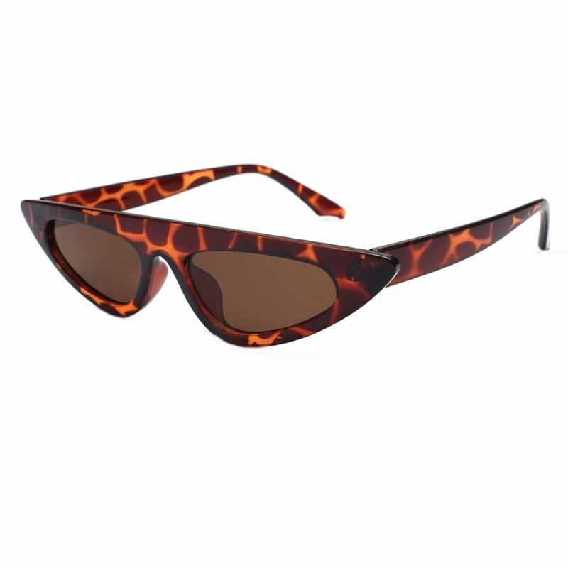 Gafas de sol triangulares pequeñas de marca gafas de sol Retro ojo de gato mujeres negro rojo marco femenino UV400 sombras estrechas delgadas R191
