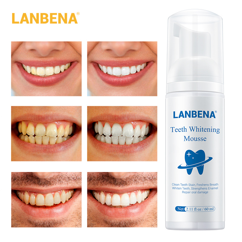 LANBENA Teeth Whitening Mousse Toothpaste Dental Oral Hygiene Remove Stains Plaque Teeth Cleaning Tooth White Tool New Version