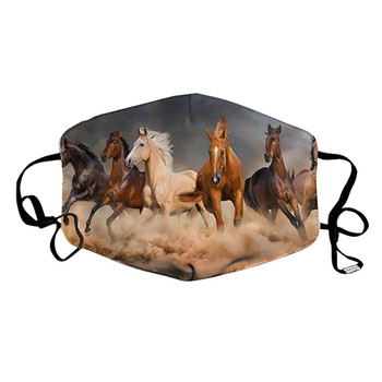 1pcs Animal Horse Printed Face Mouth Masks Adjustable Dustproof Reusable Breathable Mouth-muffle Put Activated Carbon Filter image