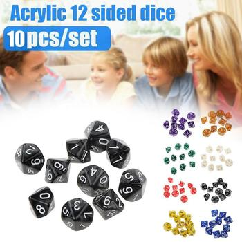 10pcs 12 Sided Dice D12 Polyhedral Dice Family Party Accessories Acrylic Game Pub RPG 12-sided Club Dice D&D Board Game Acr N1P4 image