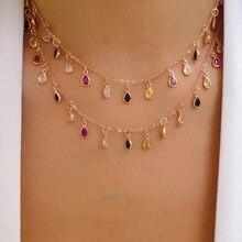 Colar feminino com pingente de arco-íris, pingente fino de pedra cz, pontos de arco-íris, 2020 joias,