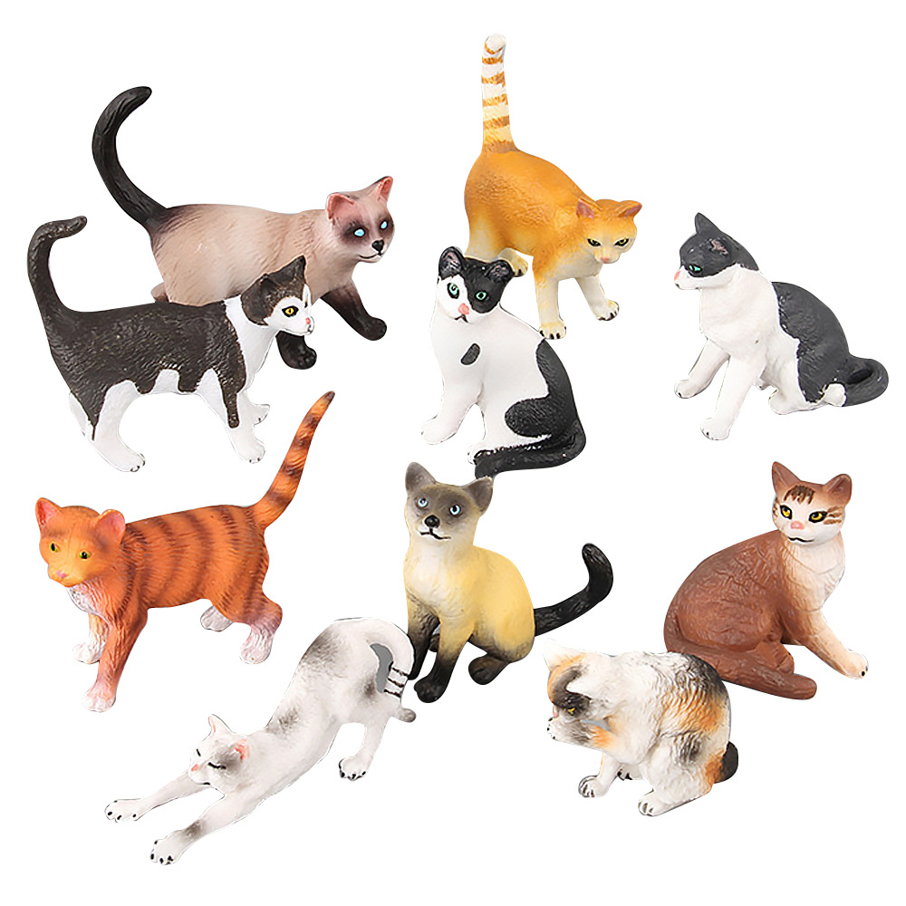 Garden Animal Decoration Mini Simulation Models Cute Cat Figurines Lifelike Action Play Figure Miniatures Ornaments For Girl