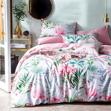 Evich 100% Cotton Four-piece Set Encrypted Fashion Bed Sheet Quilt Cover Hotel Special Long-staple Printed 4 pcs 1.5/1.8 Bedding