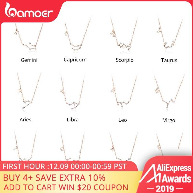 BAMOER Real 925 Sterling Silver Crystal Taurus Capricorn Scorpio Twelve Constellation Pendant Necklaces Women Wedding Jewelry