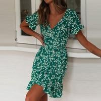 Женские летние платья 2020, сексуальное пляжное платье Бохо С V-образным вырезом и цветочным принтом, ТРАПЕЦИЕВИДНОЕ мини-платье с коротким рукавом и оборками, сарафан с запахом, Халат 2