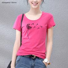 Plus los wildflower dandelion impresso camiseta feminina o pescoço manga curta algodão tshirt casual verão feminino menina camiseta