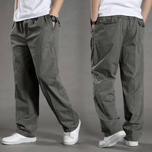 Tamanho grande solto calças casuais calças masculinas em linha reta casual all-match primavera e outono calças esportivas