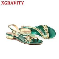 XGRAVITY New All Matched Crystal Flat Shoes Elegant Ladies Summer Shoes Women Flat Sandals Fashion Ladies Rhienstone Shoes B021