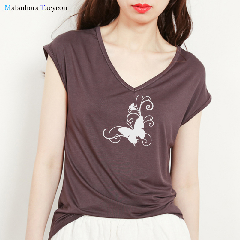 Summer T-shirt Butterfly Flower Shape Graphic Tee Tshirt Women Casual Korean Style Slim T Shirt Woman V-Neck Sleeveless Tops Tee image