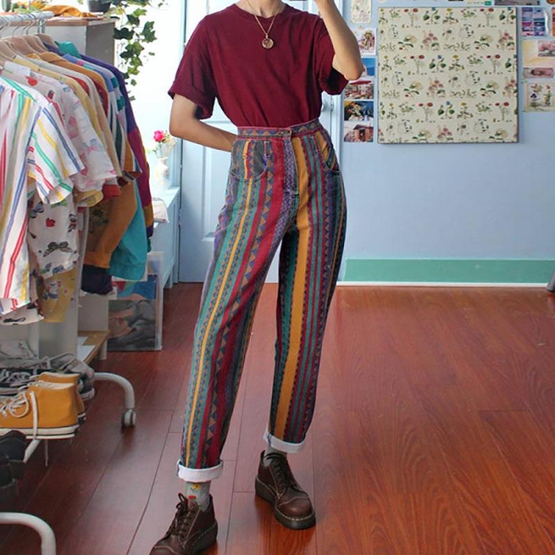Women's Pants Spring Fashion Multicolor Woman Trousers Casual Length Pencil Pants Female Summer 2020 Striped Rainbow Woman Pants