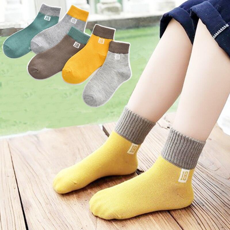 1 piece=5 pair Children's Cotton Socks Student Socks Floor Kids Socks Autumn Winter Spring Boys And Girls Multi Color Sock 1