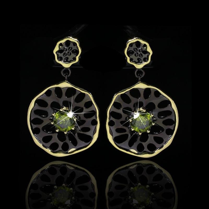 Fashionable Simple Dangle Earrings for Women Black Gold Filled Tungsten Green Cubic Zirconia Vintage Drops Earrings Wedding Band