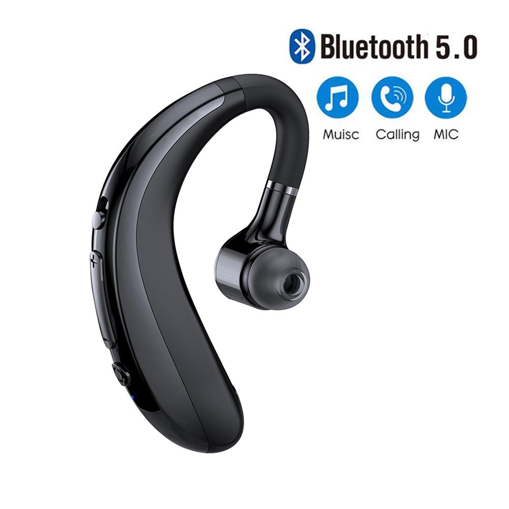 Беспроводные наушники Bluetooth 5,0 с ушным крючком, Спортивная деловая гарнитура, одноушные наушники, гарнитура с микрофоном для смартфона