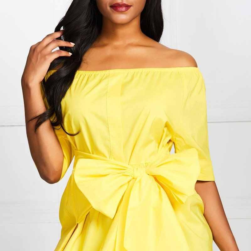 Женская Повседневная элегантная желтая Офисная Женская блузка с бантом и кружевом, большие размеры, свободный короткий рукав, одно слово, воротник, топ, женская одежда