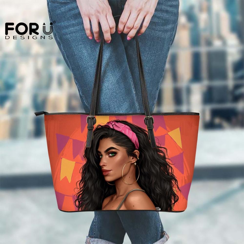 FORUDESIGNS Big Hand Bags Women Pink Hair Cute Girls Print Fashion Match Dress Shopper Bags Messenger Shoulder Leather Hand-bags