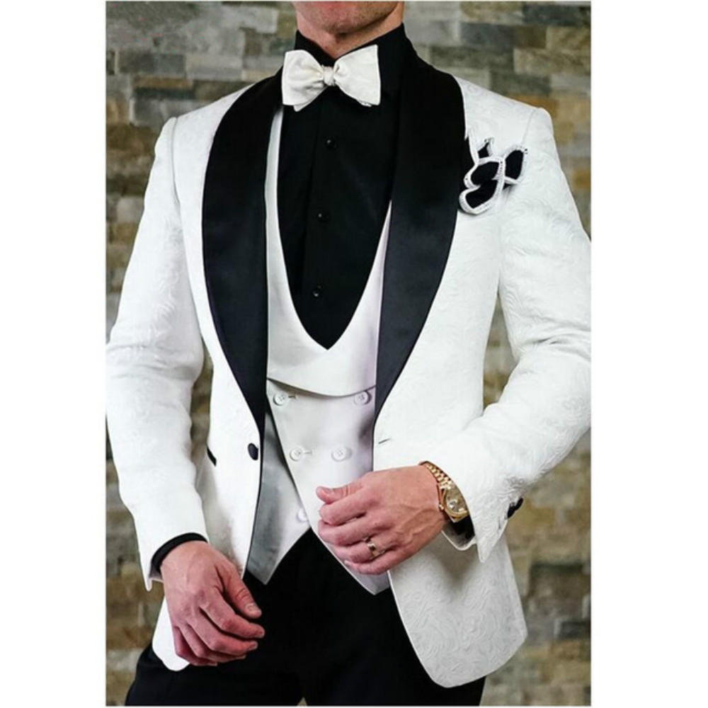2020 White/Black/Champagne Mens Suits 3 Piece U-Neck Shawl Lapel Tuxedos Groomsmen Men Suits For Wedding (Blazer+vest+Pant)