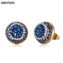 Shinygem 2020 модные ювелирные изделия Позолоченные серьги гвоздики