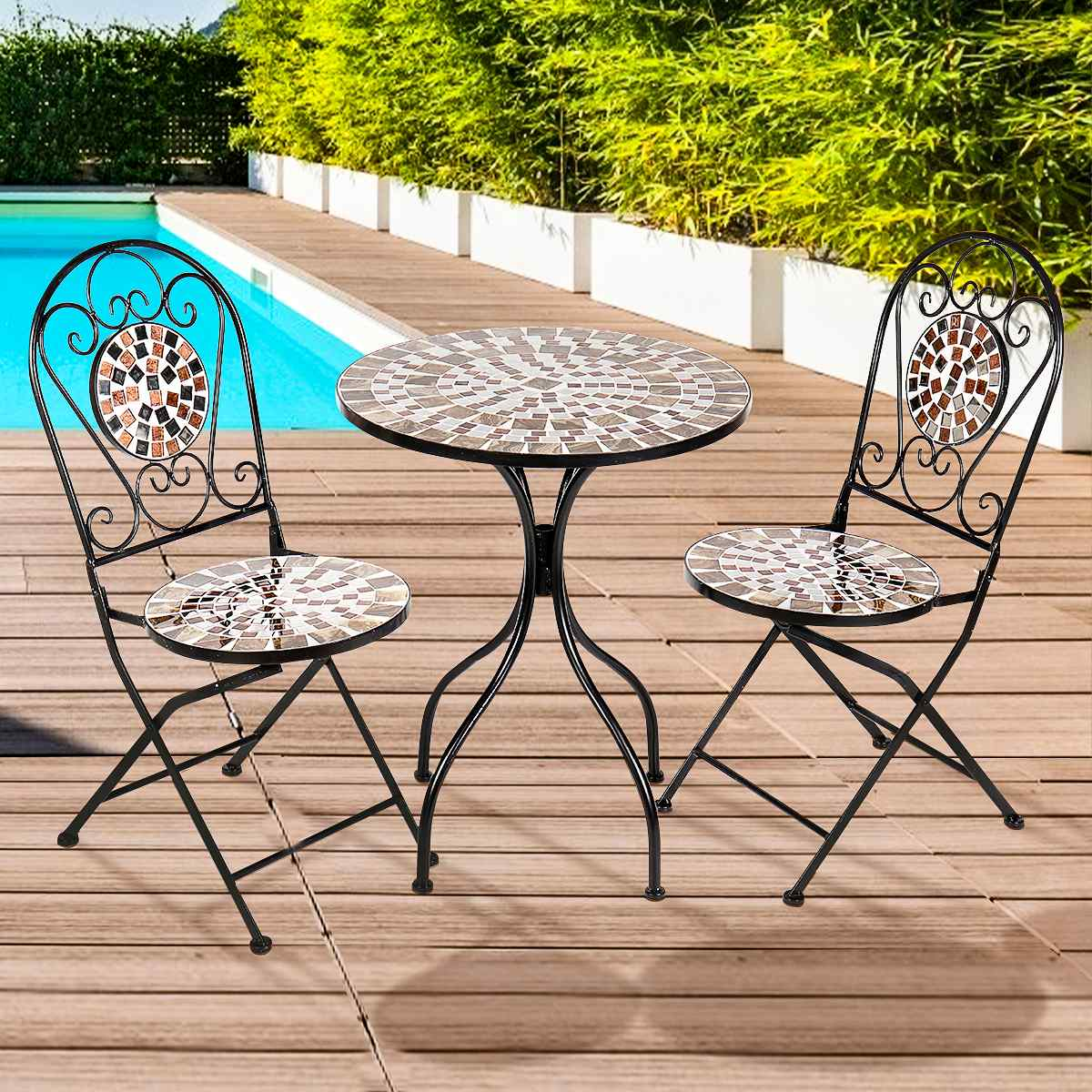3Pcs/Set Iron Floral Pattern Design Bistro Patio Set Round Table and 2XFoldable Chairs Set Furniture Garden Outdoor Seat