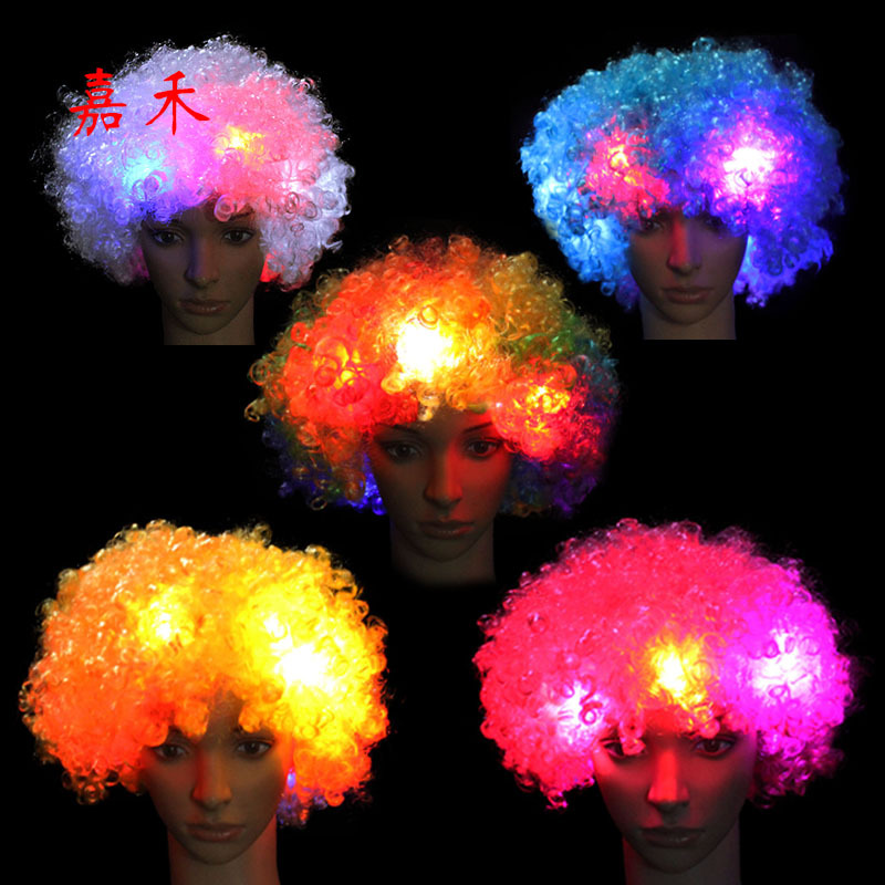 Manufacturers Direct Selling Shining Head Band Hat Afro Wig LED Flash Headdress Clown Wig (Ball Game) Fan Supplies