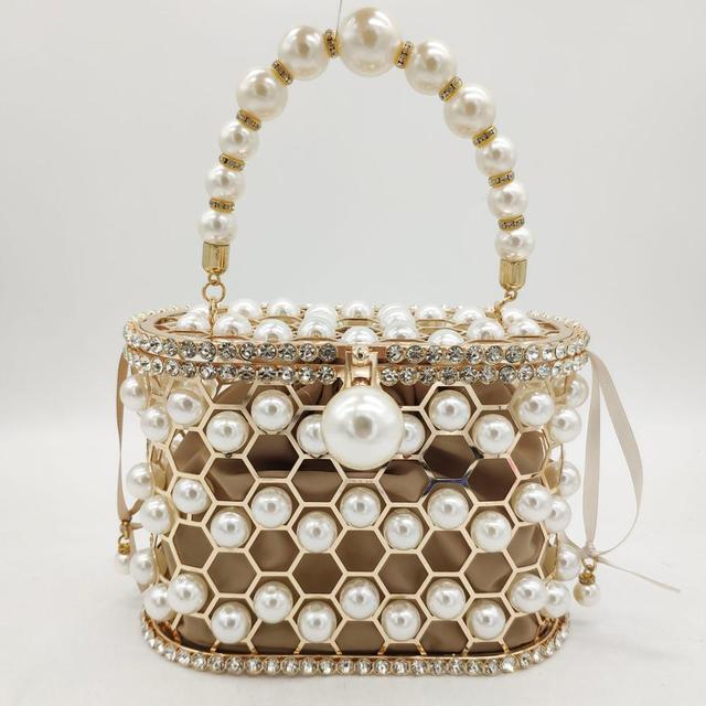 Pearl Beaded Evening Bucket Diamond Clutch  1