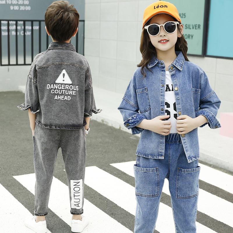 Unisex Korean Children Clothes Spring Autumn Girls Coat Outfit Kids Washed Boys Denim Jacket Grey/ Blue