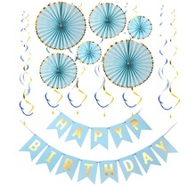 8SEASON Happy Birthday Banner with Hanging Swirl for Fiesta Party Mexican Carnival Kids Family Decorations