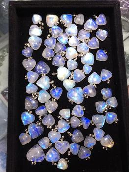 Naturalny kamień księżycowy niebieskie światło serce miłość koralik naszyjnik jeden wisiorek 18x17mm kamień kobiety mężczyźni miłość kryształ uzdrawianie AAAAA