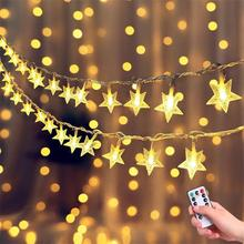 10M 6M LED Christmas Star String Fairy Lights Battery/USB Remote  Indoor/Outdoor Garlands For Home Wedding Party New Year Decor