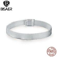 Bisaer venda quente 925 prata esterlina simples feminino contas strand pulseiras venda quente pulseiras jóias pulseira 17cm 19cm ecx001