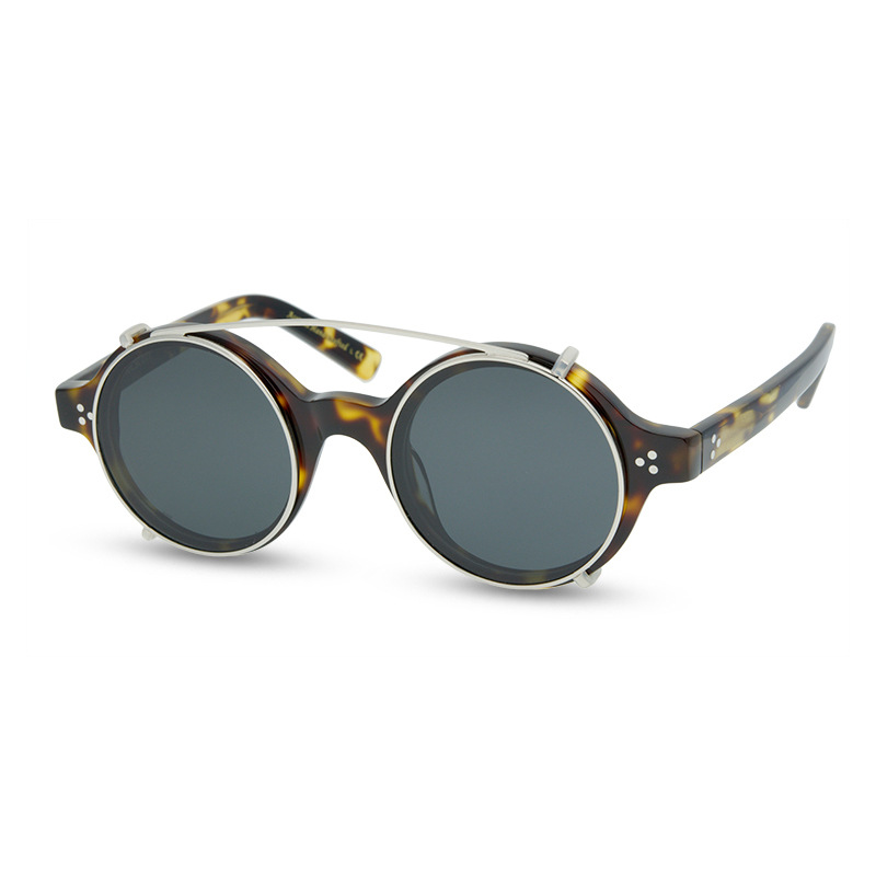 2020 Acetate Polarized Sunglasses Men Women Vintage Clip on Sunglasses Brand Designer Retro Round Sun Glasses Male UV400 Eyewear