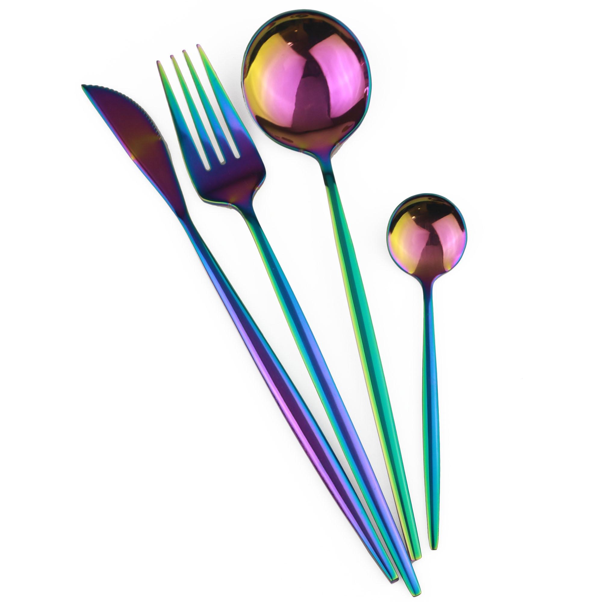 Juego de vajilla multicolor de acero inoxidable con espejo dorado rosa y negro, 4 unids/set, cuchillo de cena, tenedor, vajilla, envío directo|Juegos de vajilla|   - AliExpress