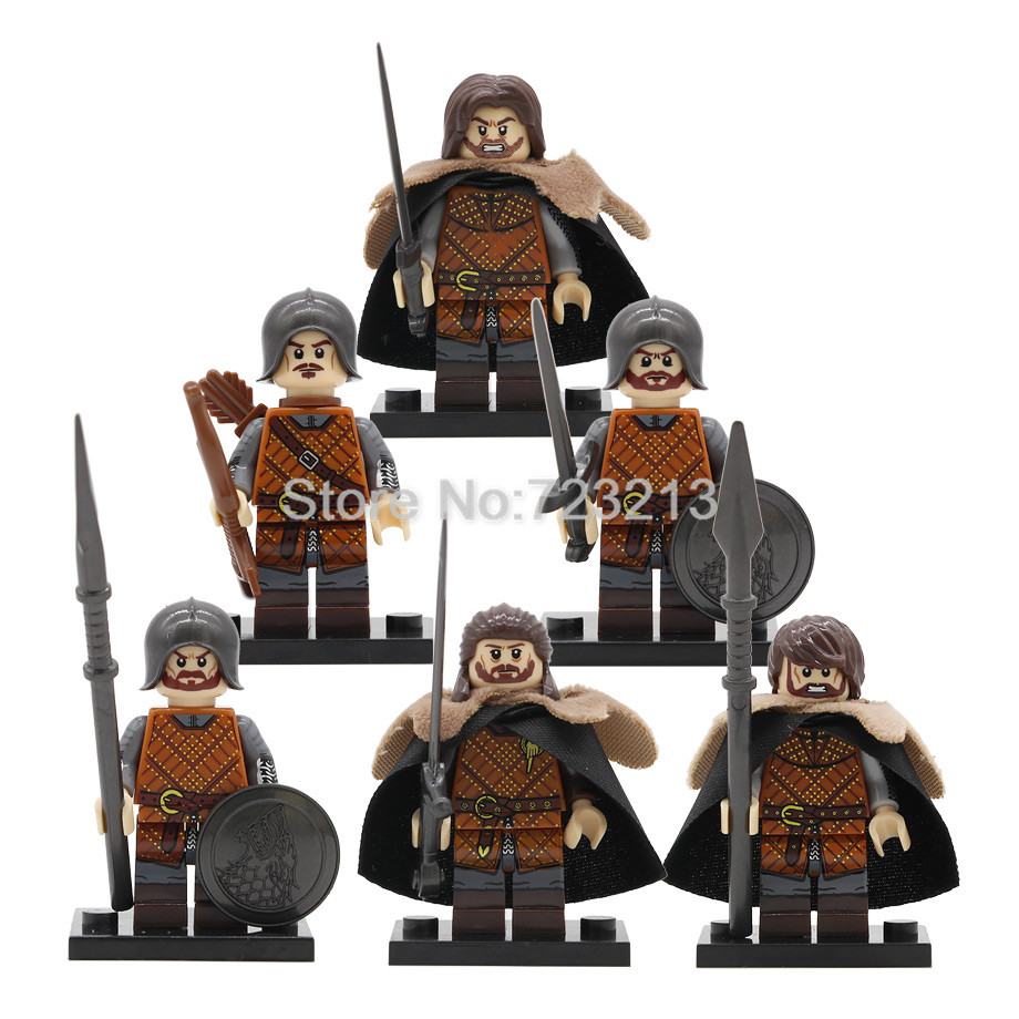 6pcs/lot Game Of Thrones The Starks Figure Set Wolf Army Jon Snow Model Building Blocks Kits Brick Educational Toys Legoing