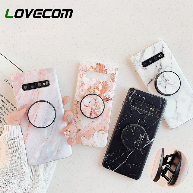 Classic Marble Stand Holder Phone Case For iPhone 11 Pro Max XR XS 7 8 Case For Samsung A50 A70 S8 S9 Soft IMD Phone Back Cover