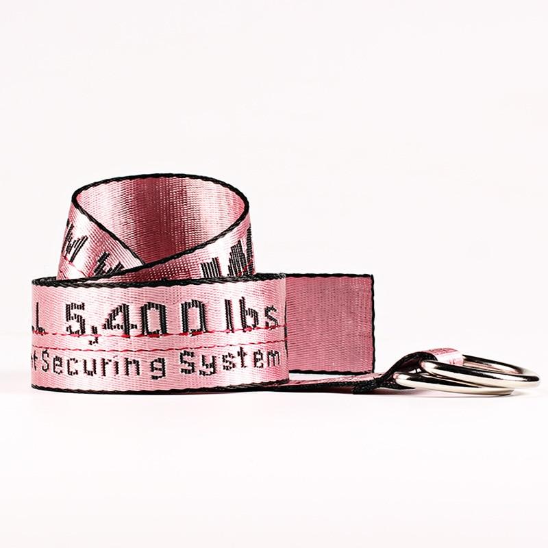 TagerWilen ремень стиль буквы напечатаны мода унисекс двойное D Кольцо холст ремень длинные джинсы ремни для женщин брезентовый мужской ремень - Цвет: Off-Pink