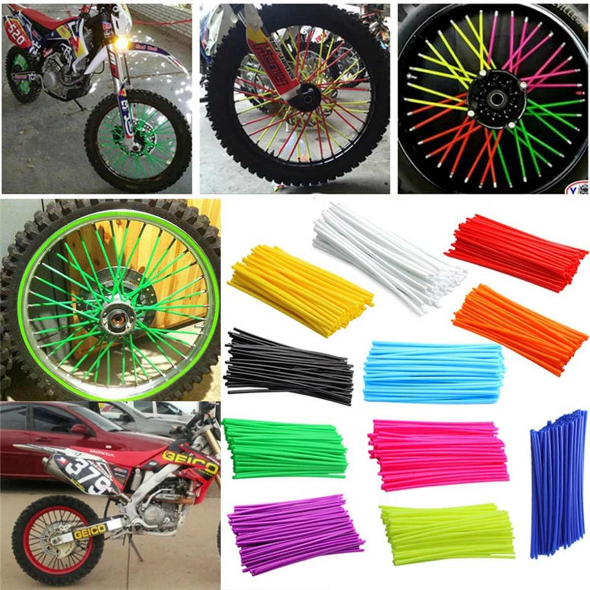 75 Pcs Bike Spoke Skins Covers Decoratie Motorfiets Scooter Dirt Bike Mtb Velg Spoke Wraps Protector Motor Styling