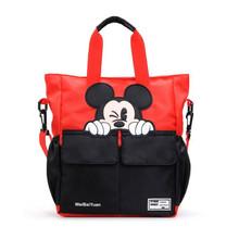 Disney Mickey Minnie Mouse torba kartonowa wodoodporna nylonowa pojemna torba torba na ramię crossbody Girl chłopięca torba do szkoły tanie tanio Żywności Dzieci Torby do przechowywania