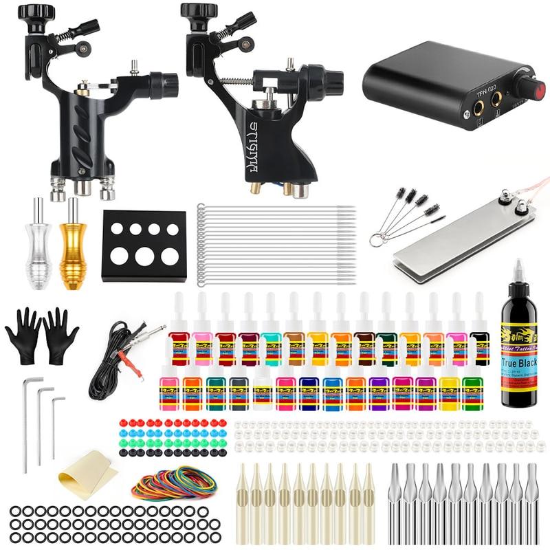 Stigmatisation 2018 nouveau Kit complet de Machine à tatouer professionnelle définit 2 Machines rotatives pour les encres de couleur d'art corporel